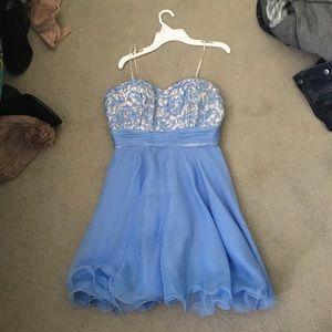 Blue homecoming prom dress