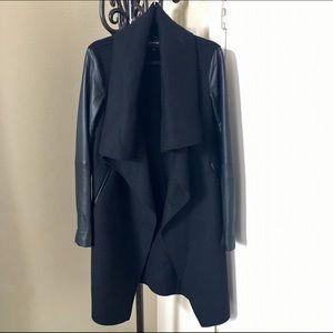 Mackage Jackets & Blazers - Mackage Waterfall Collar Wool Coat Leather Sleeves