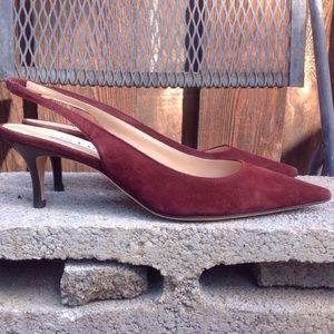 Isaac Mizrahi Shoes - NEW Isaac Mizrahi Burgundy Suede Slingback Heels
