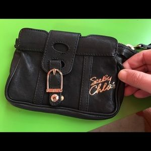 See by Chloe small black leather clutch/pouch