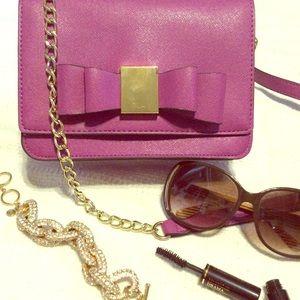 Merona purple and gold bow cross body  purse!