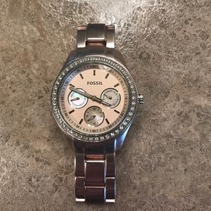 Rose Colored Fossil Watch