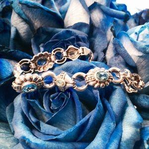 Aquamarine and Peridot Silver Bracelet