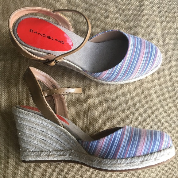 3d89a14134d BANDOLINO Quipster Striped Wedges Espadrilles Sz 8