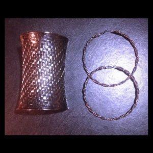 bebe Jewelry - Bebe Tribal Cuff and Hoop Earring Set - (2 pc)