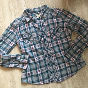 At Last Tops - Blue and Pink Flannel