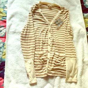 Anthropologie Sweaters - Anthropologie Tiny beige striped sequin cardigan