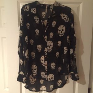 Sheer black & white skull button up blouse, medium