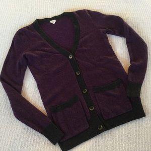 J.Crew Factory Sweaters - J.Crew Purple & Black Herringbone Wool Cardigan