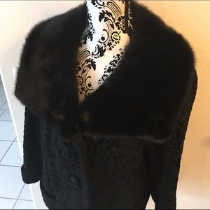 Black Mink &  Persian lamb vintage coat / jacket