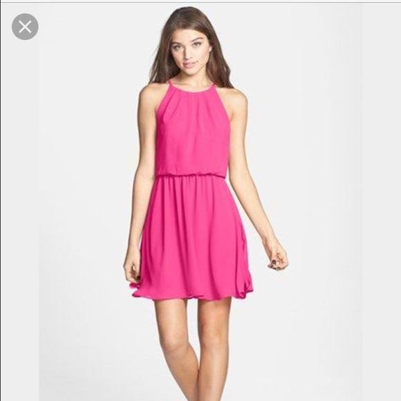 369613d137f4 bp Dresses | Nordstrom Chiffon Skater Dress In Pink | Poshmark