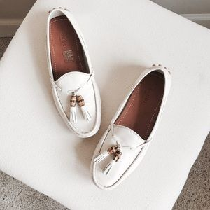 Gucci Bamboo Tassel White Loafer
