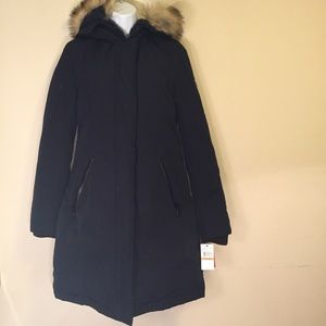 58014c7cb NWT Vince Camuto navy faux fur hooded down coat NWT
