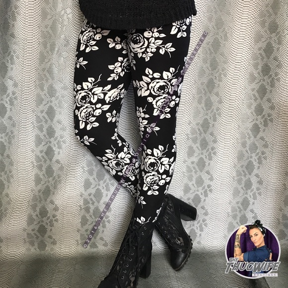 ccd0114cef710 LuLaRoe Pants | Butter Soft Leggings Os Black White Rose Nwt | Poshmark