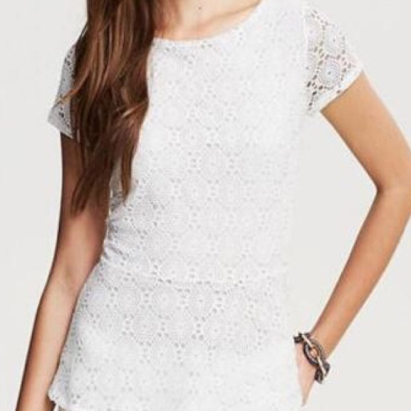 53016535ccf6ee Banana Republic Tops - BANANA REPUBLIC Eyelet white lace peplum blouse