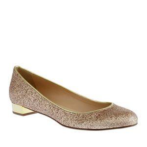 Gold Glitter J Crew Janey Flats, size 6