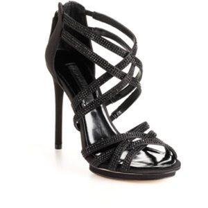 BCBGMaxAzria High-Heel Strappy Rhinestone Sandals