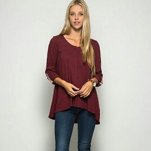 She and Sky Tops - Wine High-Low Top