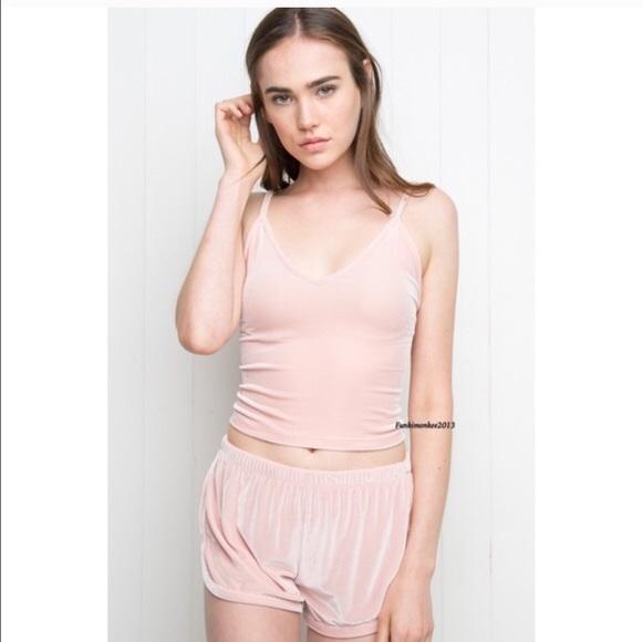 Brandy Melville pink velvet lisette shorts