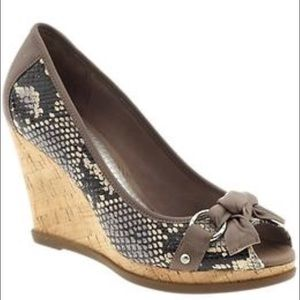 Sperry Top-Sider Shoes - Sperry faux snakeskin cork peep toe wedges size 9