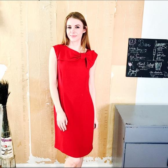 Tahari Dresses   Red Bow Dress 310   Poshmark