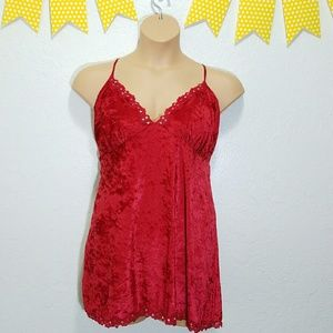 Cacique Other - Sexy Red Velvety Nightie Lingerie Lace Hem D11