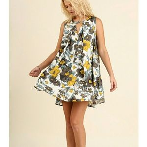 Boutique  Dresses & Skirts - ONE LEFT!! Yellow Gold & Gray Floral A-line Mini