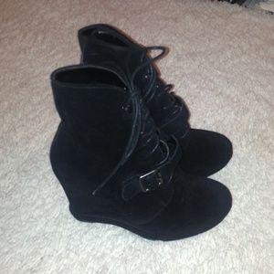 Aldo black suede buckle platform wedge boots