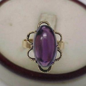 Jewelry - Antique 14k gold genuine cabochon  amethyst ring