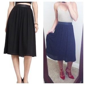 Express Dresses & Skirts - Express Minus The Leather Black Pleated Midi Skirt