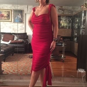 Norma Kamali Dresses & Skirts - Norma Kamari red sheered jersey cocktail dress L