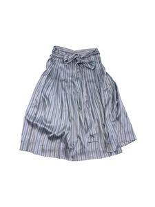 Jill Stuart- Chloe Blue Striped Silk Midi Skirt Sz 6