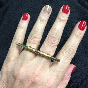 Jewelry - Gold Tone Wired Wrapped Double 2 Finger Ring