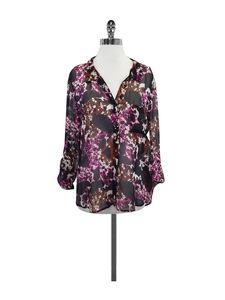Diane von Furstenberg- Black & Pink Button Up Blouse Sz 12