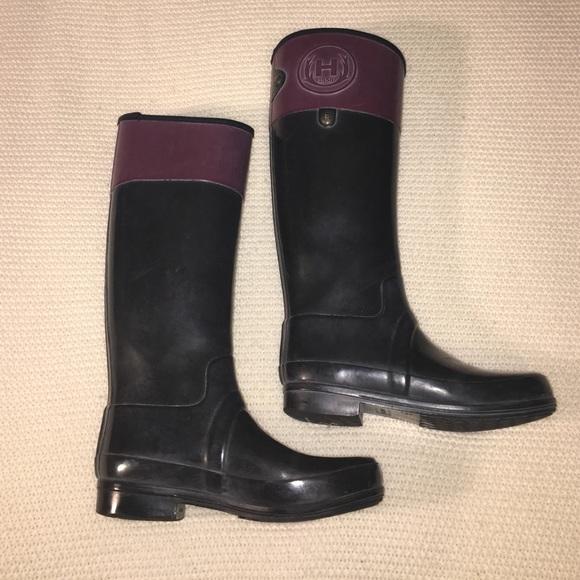 af6393441eb7 Hunter Shoes - Hunter black and purple rain boots
