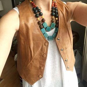 Vintage Jackets & Blazers - Vintage Leather Festival Vest