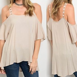 Nude Cold Shoulder Top tunic