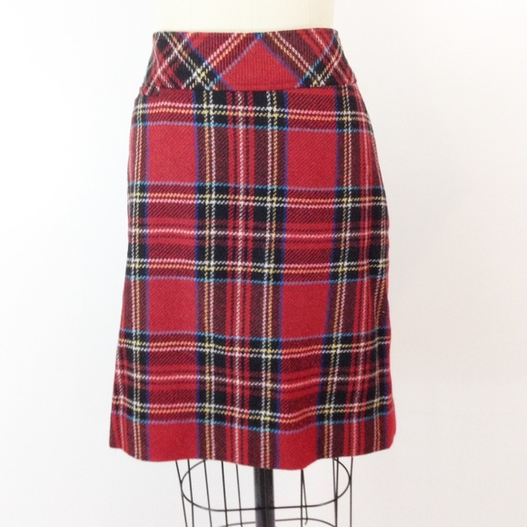 b39b4af8f1 L.L. Bean Dresses & Skirts - LL Bean Andover Red Plaid Wool Pencil Skirt