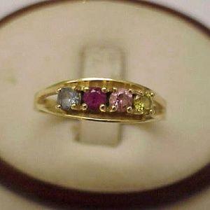 Jewelry - 14k gold citrine amethyst topaz ruby mother ring
