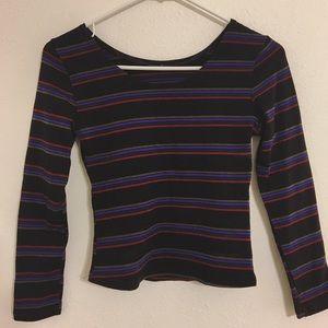 BOGORainbow Striped Long Sleeve Crop Top