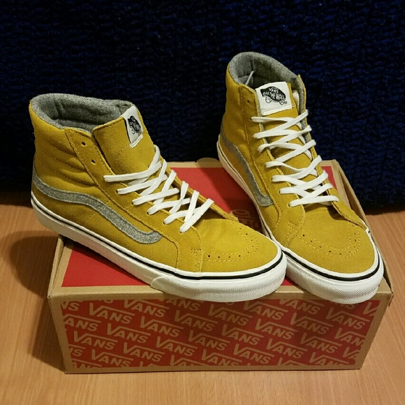 76f6200f6f NWBOX Sk8 Hi Slim Vintage Suede in Amber Gold