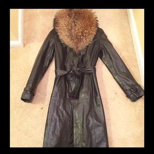 Jackets & Blazers - Black leather trench w/ raccoon fur collar