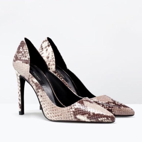 61d0312f0e7 Zara Snake Skin stiletto pumps. M 586732ee6a58305004033490
