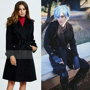 NEW Black Felt Wool Style Coat Stylish Fashion XL