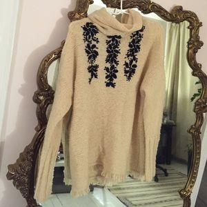 Free People Sweaters - Free People embroidered fringe turtleneck sweater