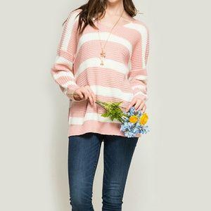  SALE New Rose Pink Stripe Sweater❤❤!