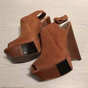 L.A.M.B. Shoes - L.A.M.B. Guru Suede Wedge Booties in Cognac