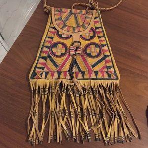 Vintage Handbags - Gorgeous hand painted leather fringe tassel bag