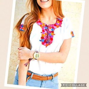 🎉 New Ethnic Boho Embroidered Top Colorful Large