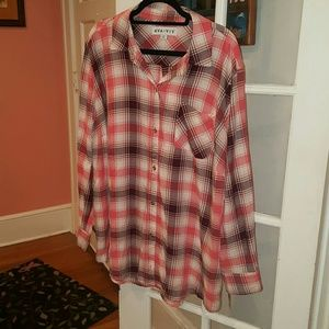 AVA AND VIV BUTTON DOWN FLANNEL 2X 2 red